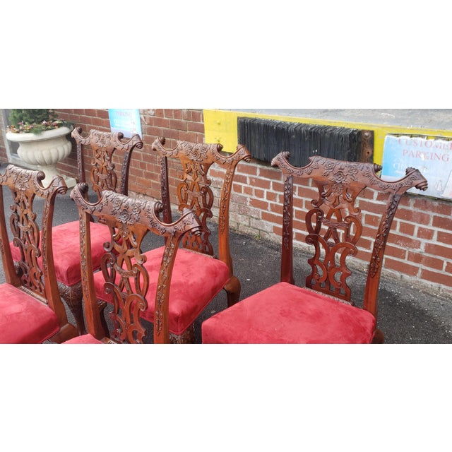 1980s Vintage Heavily Carved Mahogany Chippendale Style Dining Room Side Chairs- Set of 6 For Sale - Image 11 of 13