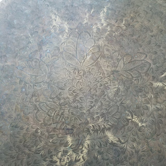 Vintage Etched Brass Brazier Stool For Sale In Dallas - Image 6 of 7