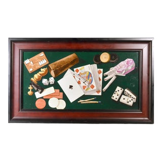 Porcelain Still Life Plaque Depicting VariousGame Pieces Including Playing Cards For Sale