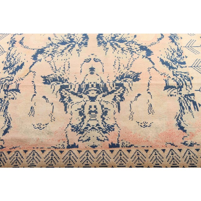 Shabby Chic Early 20th Century Antique Hand Knotted Pink and Blue Agrarian Rug 4′ × 6′8″ For Sale - Image 3 of 7