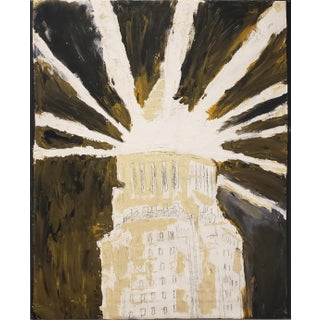 Contemporary Painting of Los Angeles City Hall by Artist Lionel Lamy For Sale