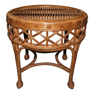 20th Century Boho Chic Wicker Coffee Table For Sale