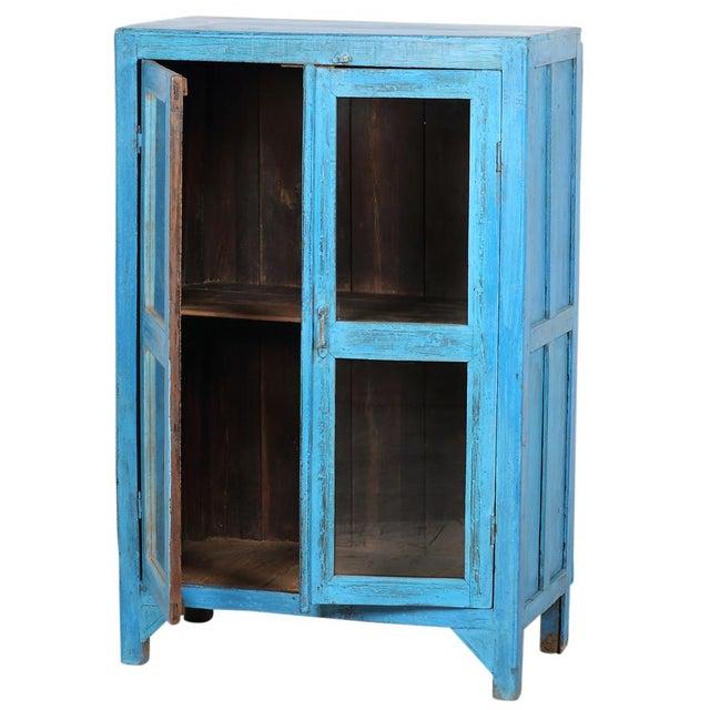 Sky Blue Glass Paneled Cabinet - Image 4 of 5