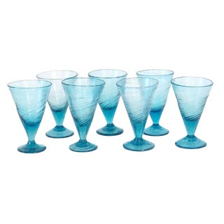 1800s Rare Turquoise Blue Seed Glass Twist Footed Glasses - Set of 7 Preview