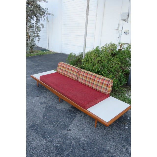 Mid Century Modern Adrian Pearsall Sofa XL Travertine Marble End Tables For Sale In Miami - Image 6 of 13