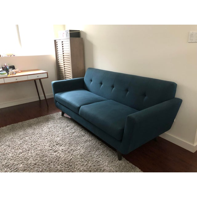 Marvelous Mid Century Modern Blue Loveseat Squirreltailoven Fun Painted Chair Ideas Images Squirreltailovenorg