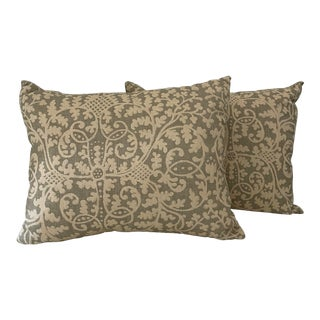 Creamy/Taupe Brown Linen Pillows With Floral Motif- a Pair For Sale
