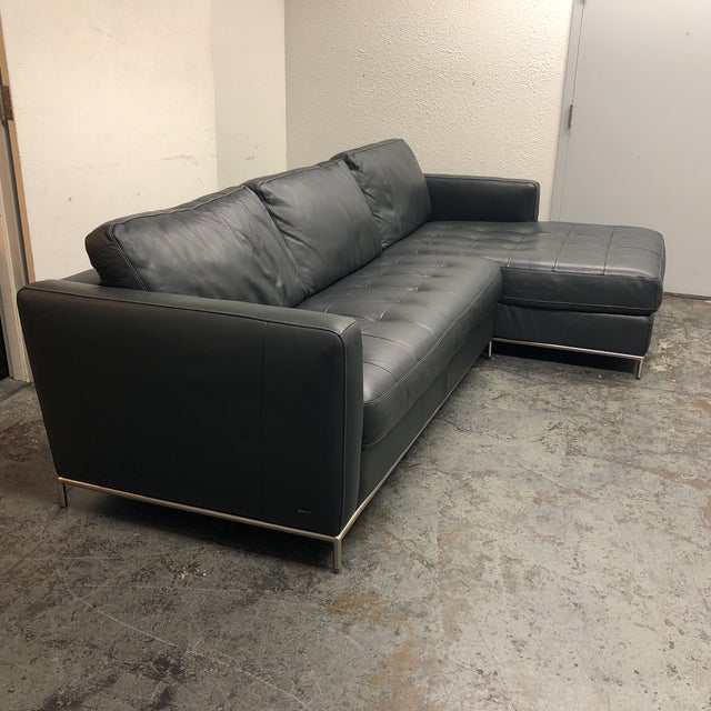 Natuzzi Natuzzi Silvio Pheonix Gray Leather Sectional For Sale - Image 4 of 10