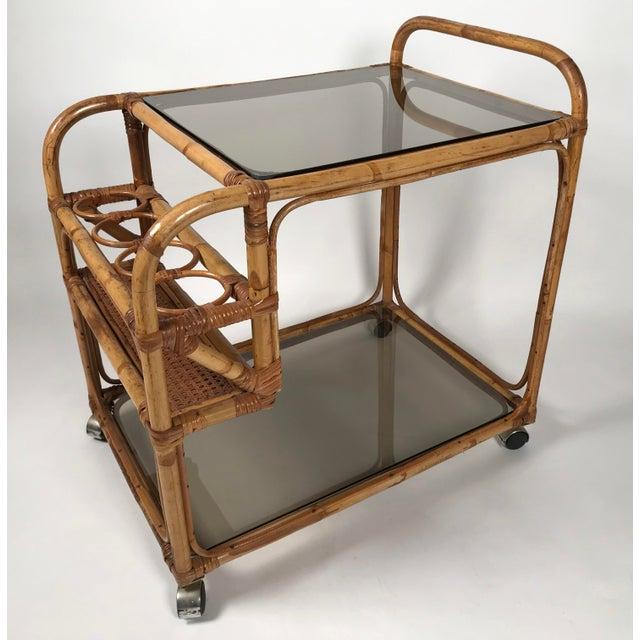 Rattan and Smoked Glass Bar Cart For Sale - Image 4 of 8