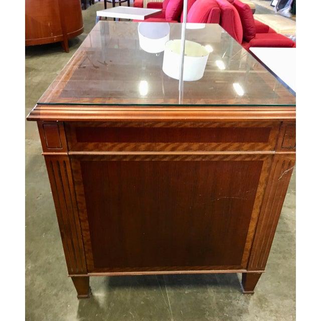 Edwardian Empire Petite Tiger Wood & Mahogany Executive Desk For Sale - Image 3 of 7