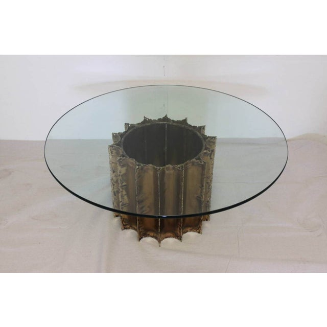 Mid-Century Brutalist Brass & Glass Cocktail Table - Image 2 of 5