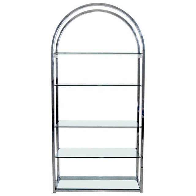 Metal Mid-Century Modern Tall Curved Chrome and Glass Étagère Shelving Baughman, 1970s For Sale - Image 7 of 7