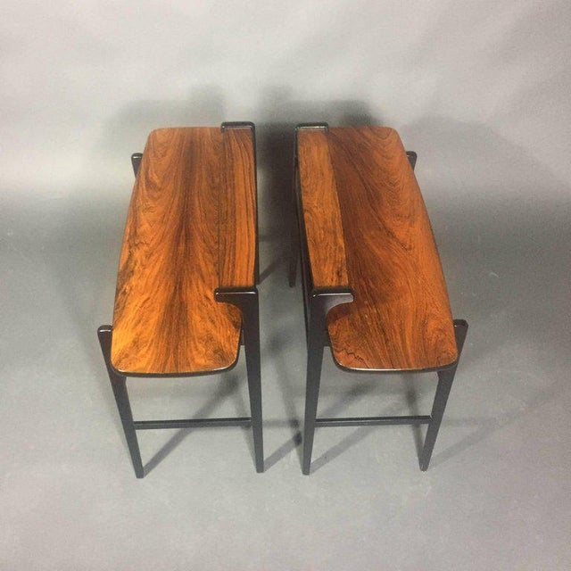 Mid-Century Modern Pair of Italian 1970s Rosewood End Tables For Sale - Image 3 of 11