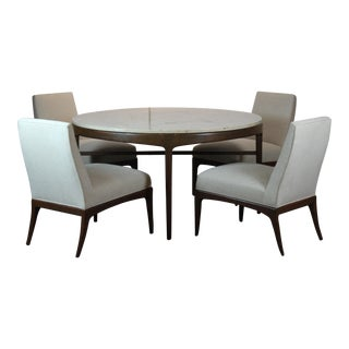 Travertine Top Round Table & Chairs - Set of 5 For Sale