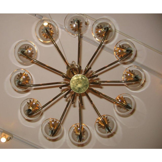 Art Deco Fontana Arte Twelve Light Brass and Crystal Chandelier Italy circa 1940 For Sale - Image 3 of 3