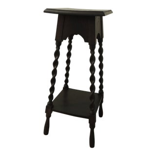 Tall Arts & Craft Vintage Hand Crafted Plant Stand With Four Turn Wood Legs For Sale