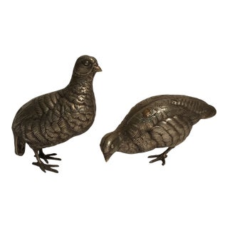 Silver Bird Scultures - a Pair For Sale
