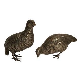 Silver Bird Scultures - a Pair