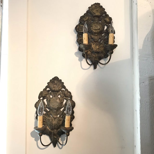 French Pressed Brass Silver Sconce in Sunflower Design -A Pair For Sale In Portland, ME - Image 6 of 6