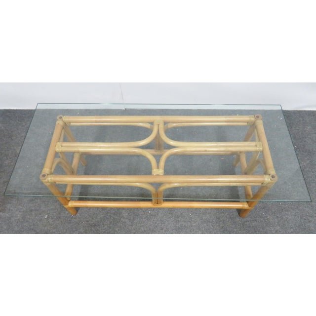 Mid 20th Century Mid Century Modern Rattan Glass Top Coffee Table For Sale - Image 5 of 6