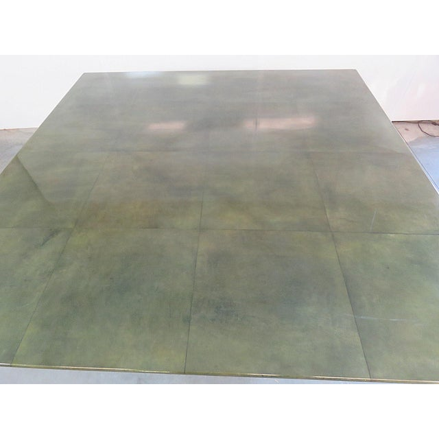 Shagreen Top Painted Wood Dining Table For Sale - Image 5 of 11