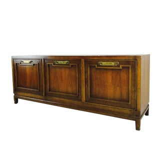 Mid Century Credenza With Brass Hardware in the Style of Thomasville For Sale