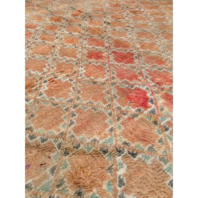 Apricot Beni Mguild Vintage Moroccan Rug - 6′3″ × 9′5″ For Sale - Image 8 of 9
