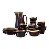 Image of Vintage Brown Drip Set by Pfalzgraff - 19 Pieces For Sale