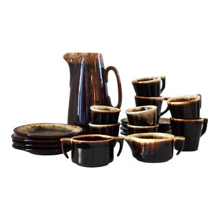 Vintage Brown Drip Set by Pfalzgraff - 19 Pieces For Sale