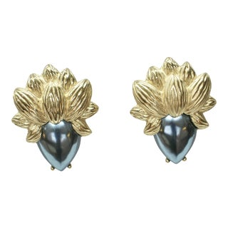 1970s Statement Gold-Plated Carved Pewter Earrings For Sale