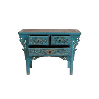 19th Century Antique Blue Shandong Carved Cabinet Preview