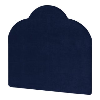 The Crown Headboard - King - Kate - Luxe Velvet, Prussian Blue For Sale