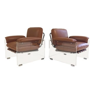 Vintage Pace Collection Argenta Lucite Chairs Restored in Loro Piana Italian Buffalo Hide - a Pair For Sale