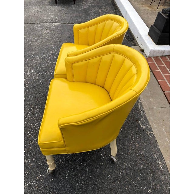 1970s Vintage Yellow Channel Back Vinyl Chairs- A Pair For Sale - Image 4 of 13