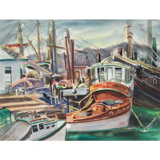 Vintage Bay Area Harbor Watercolor Painting by Sadie Van Patten Hall For Sale