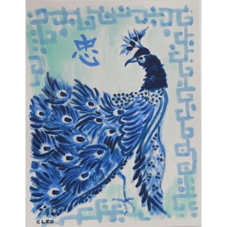 Peacock Bird in Blue Painting by Cleo For Sale