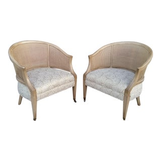 Vintage 1970's Mahogany & Cane Barrel Chairs - a Pair