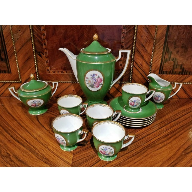 Complete porcelain/china coffee set - coffee pot, creamer, sugar bowl and 5 cups and saucers. German, Royal Tettau 1794,...