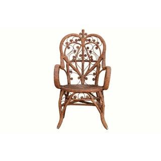 Heywood Wakefield Style Antique Wicker Armchair Preview