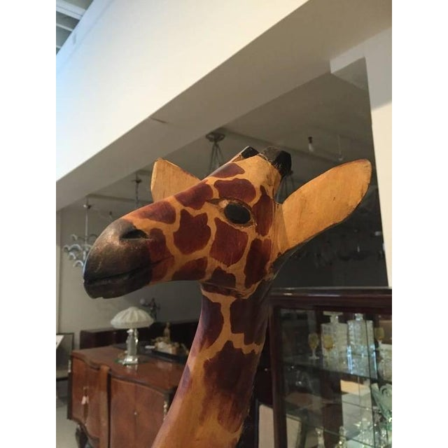 Mid-Century Modern Tall Hand-Carved Wood Standing Giraffe For Sale - Image 3 of 9