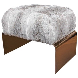 Luxury Accent Stool or Ottoman in Lapin Fur and Black Chrome For Sale