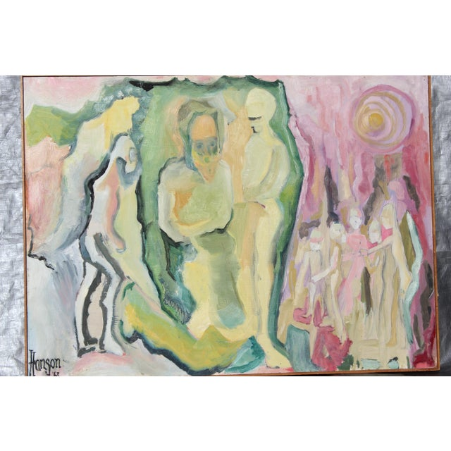 1960's Abstract Figures Oil on Board Painting, Artist: Hanson 35.5 x 26
