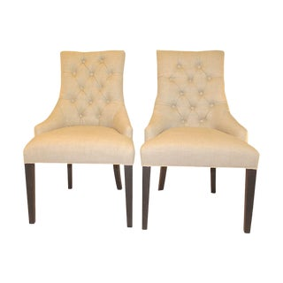 Beige Tufted Linen Side Chairs - A Pair
