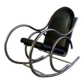 1970's Leather and Chrome Rocker For Sale