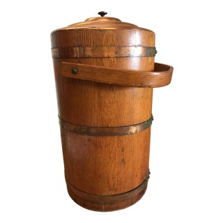 1920s Vintage Wood and Copper Band Ice Bucket For Sale