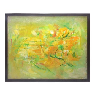 Yellow, Green and Orange Abstract Painting by Anne Brigadier For Sale