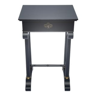 Vintage Traditional Black Painted Nightstand For Sale