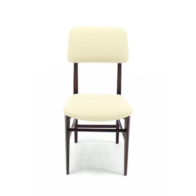 Set of Four Italian Modern Walnut Dining Chairs New Upholstery For Sale In New York - Image 6 of 7