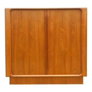 Danish Modern Armoire With Tambour Door For Sale