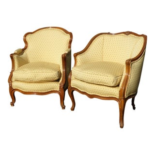 Vintage French Provincial Gold & Red Dot His & Her's Accent Chairs - A Pair